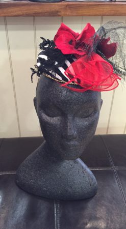 Black and red striped fascinator